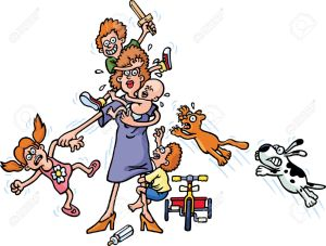 9072896-Mother-And-Children-Stock-Vector-mother-cartoon-busy